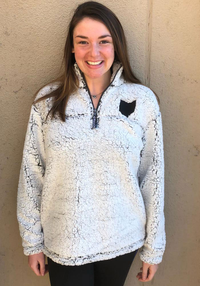 Ohio Womens Grey State Shape Long Sleeve Sherpa 1/4 Zip Pullover - Image 2