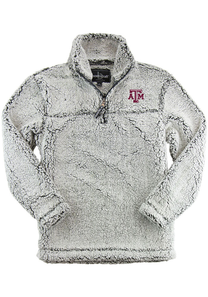 Texas A&M Aggies Womens Grey Sherpa 1/4 Zip Pullover - Image 1
