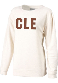 Cleveland Womens Oatmeal Block Cozy Long Sleeve Crew Sweatshirt
