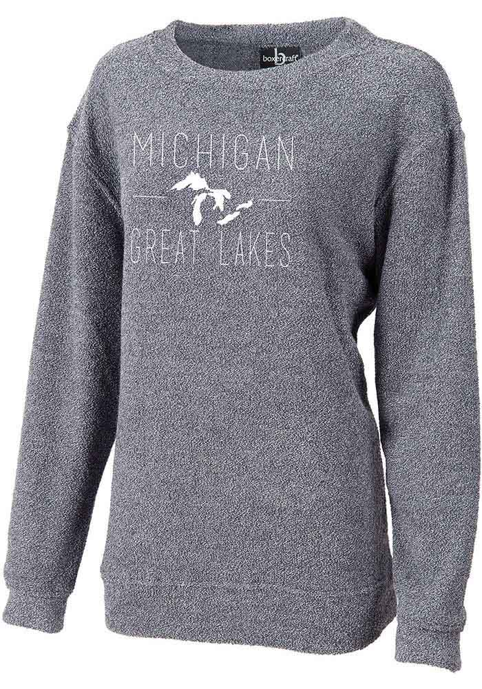 Michigan Womens Navy Great Lakes Long Sleeve Crew Sweatshirt - Image 1