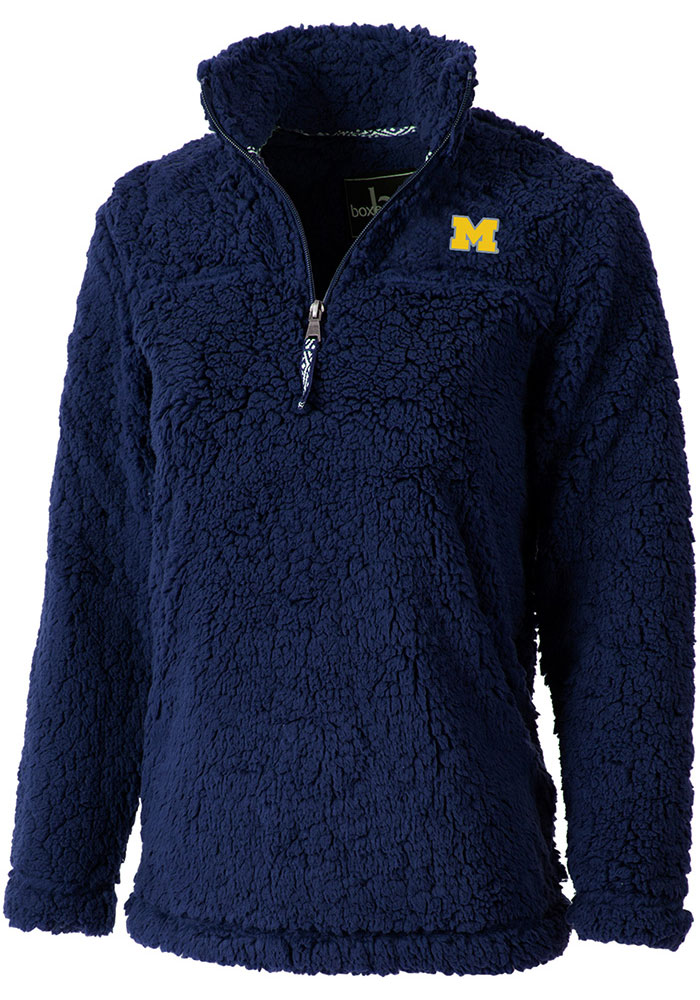 Michigan Wolverines Womens Navy Blue Sherpa 1/4 Zip Pullover - Image 1