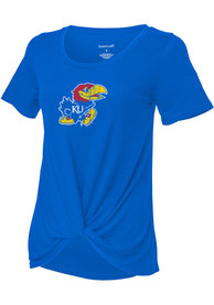 Kansas Jayhawks Girls Twisted Fashion T-Shirt - Blue