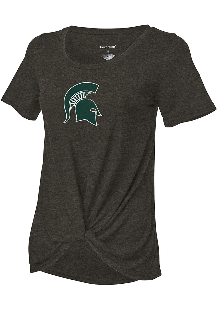 Michigan State Spartans Girls Charcoal Twisted Short Sleeve Fashion T-Shirt - Image 1