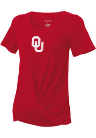 Oklahoma Sooners Girls Twisted Fashion T-Shirt - Cardinal