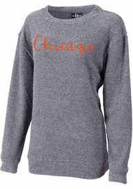Chicago Women's Navy Script Wordmark Long Sleeve Cozy Crew Sweatshirt