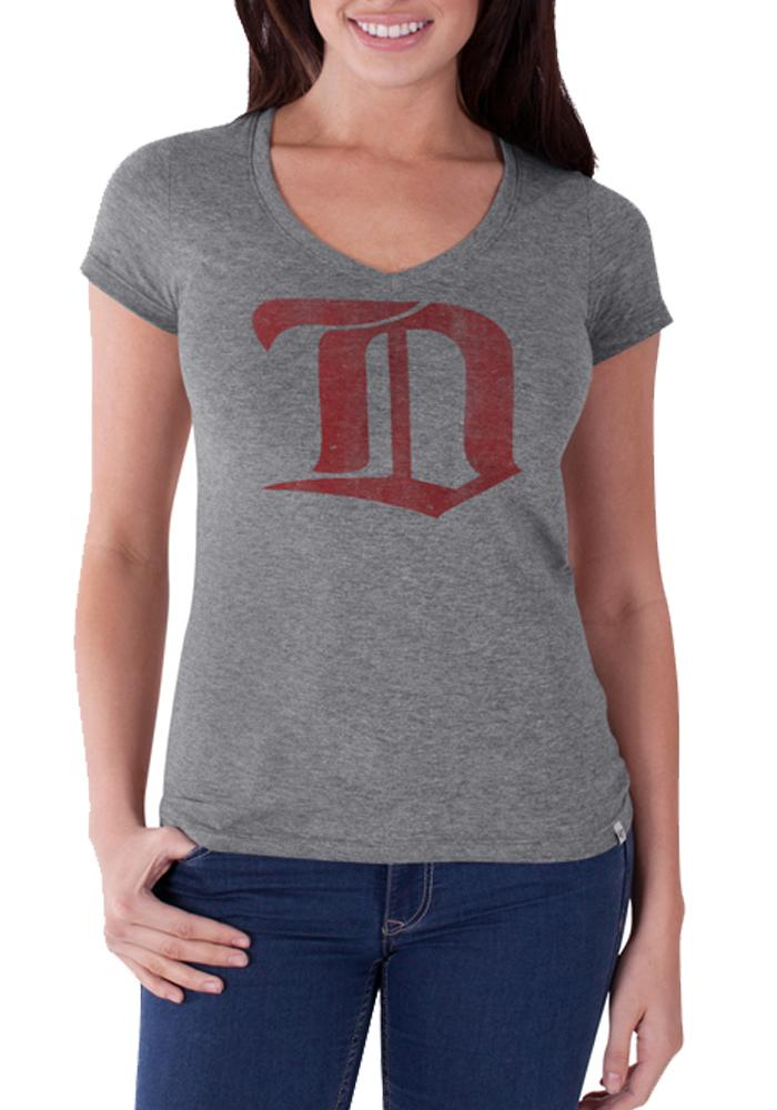 47 Detroit Red Wings Womens Grey Sophomore V-Neck T-Shirt - Image 1