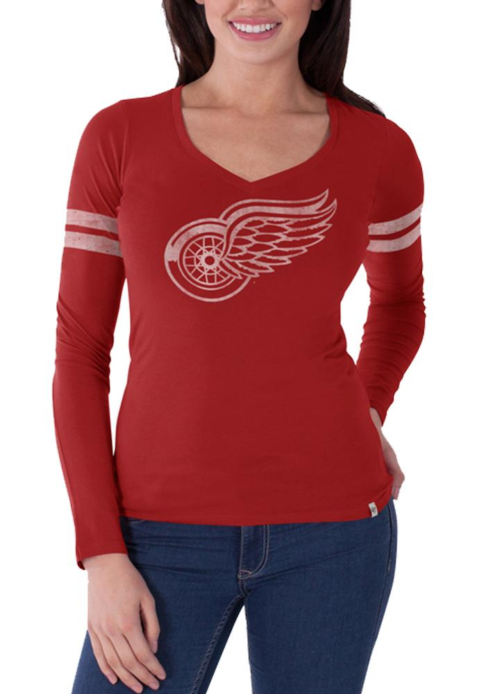 '47 Detroit Red Wings Womens Red Post Season Long Sleeve T-Shirt - Image 1