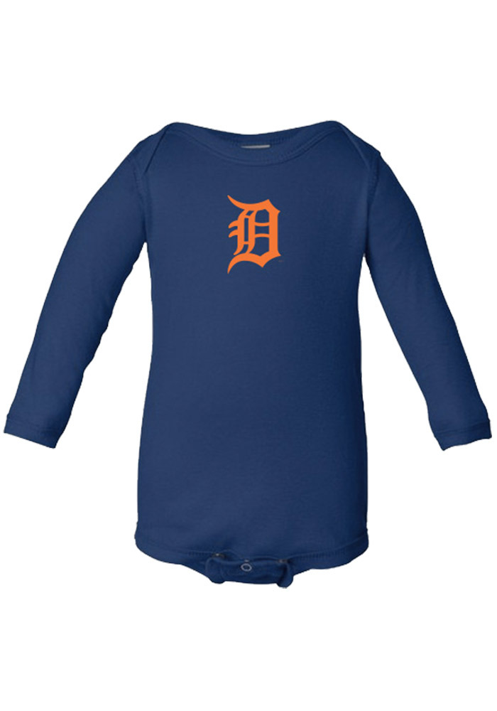 Detroit Tigers Baby Navy Blue Infant Long Sleeve One Piece Long Sleeve One Piece - Image 1