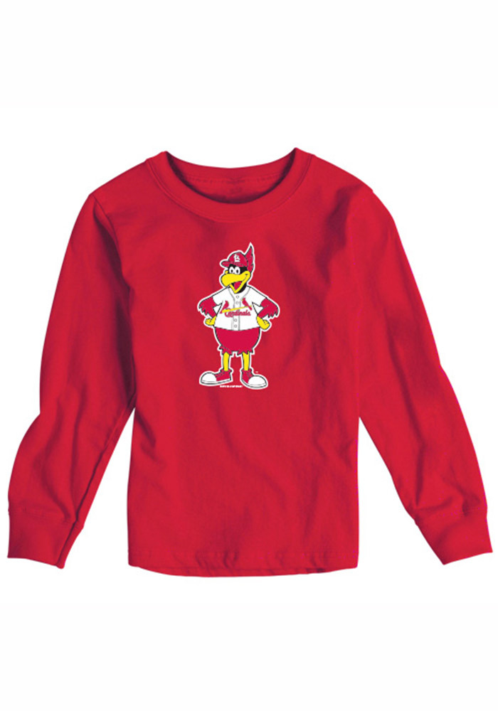 St Louis Cardinals Baby Red Toddler Long Sleeve Mascot Long Sleeve T-Shirt - Image 1
