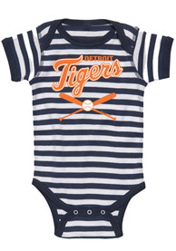 Detroit Tigers Baby Navy Blue Infant Striped Crossed Bat One Piece