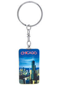 Chicago Glass Rectangle Keychain