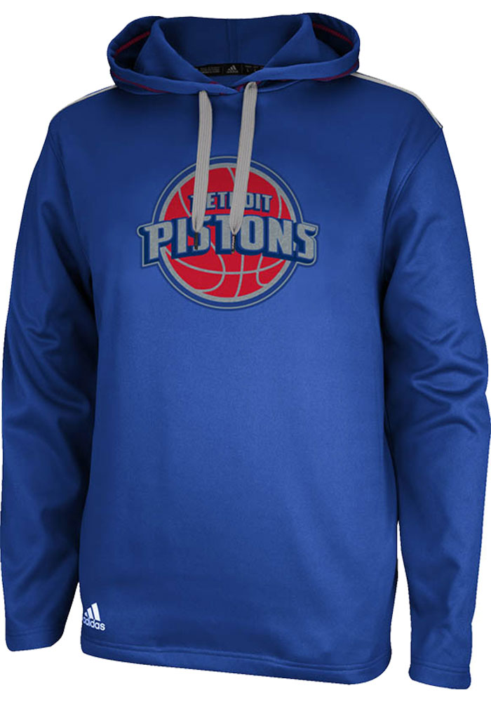 Adidas Detroit Pistons Mens Blue Tipoff Pullover Long Sleeve Hoodie - Image 1