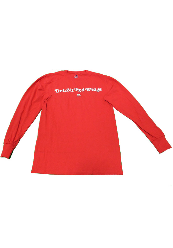 Majestic Detroit Red Wings Red Rally Loud Long Sleeve T Shirt - Image 1