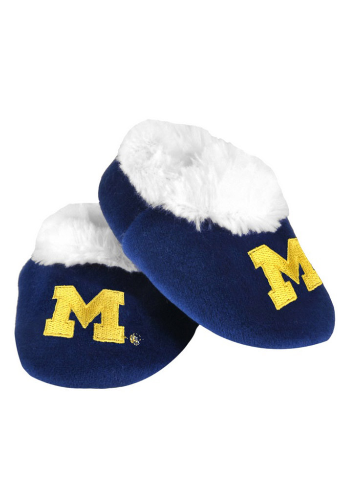 Michigan Wolverines Fuzzy Baby Slippers - Image 1