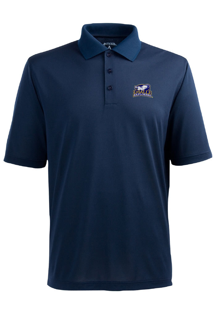 Antigua La Salle Explorers Mens Navy Blue Pique Extra Lite Short Sleeve Polo - Image 1