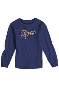 Detroit Tigers Baby Navy Blue Toddler Long Sleeve Wordmark T-Shirt