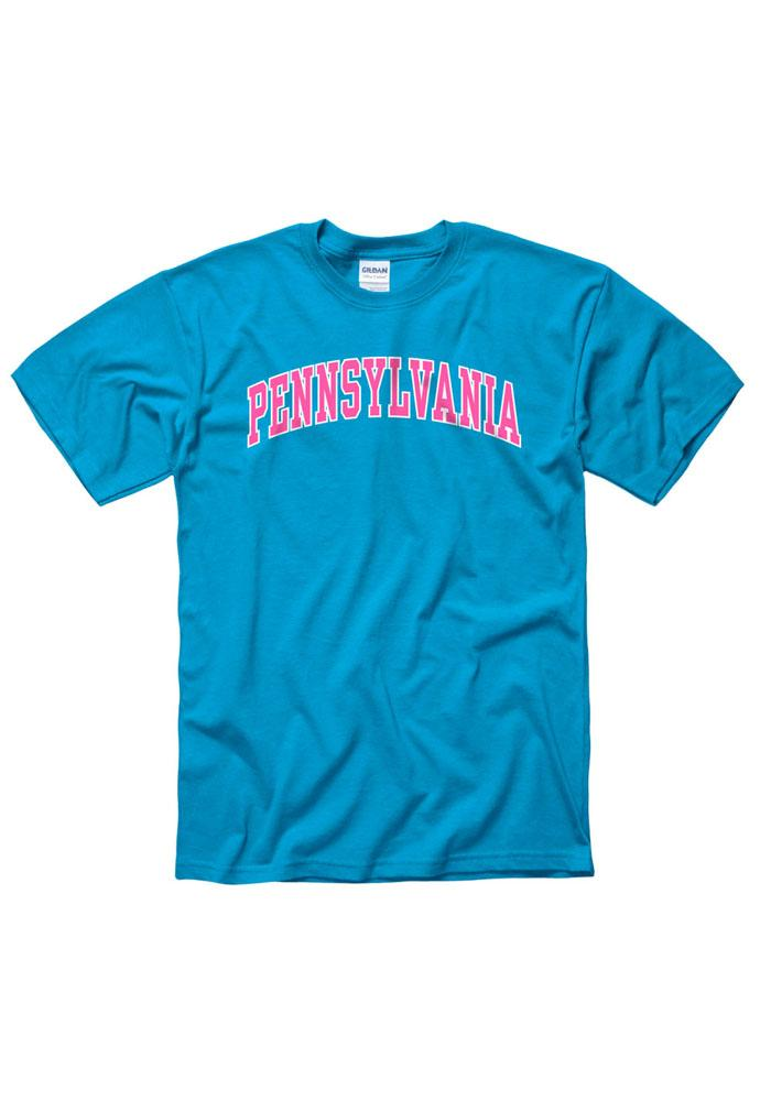 Pennsylvania Blue Neon Arch Short Sleeve T Shirt - Image 1