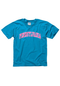 Pennsylvania Youth Blue Neon Arch Short Sleeve T Shirt