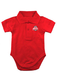 Ohio State Buckeyes Baby Red Logo Polo One Piece