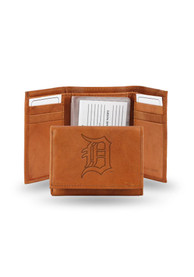 Detroit Tigers Leather Trifold Wallet - Brown