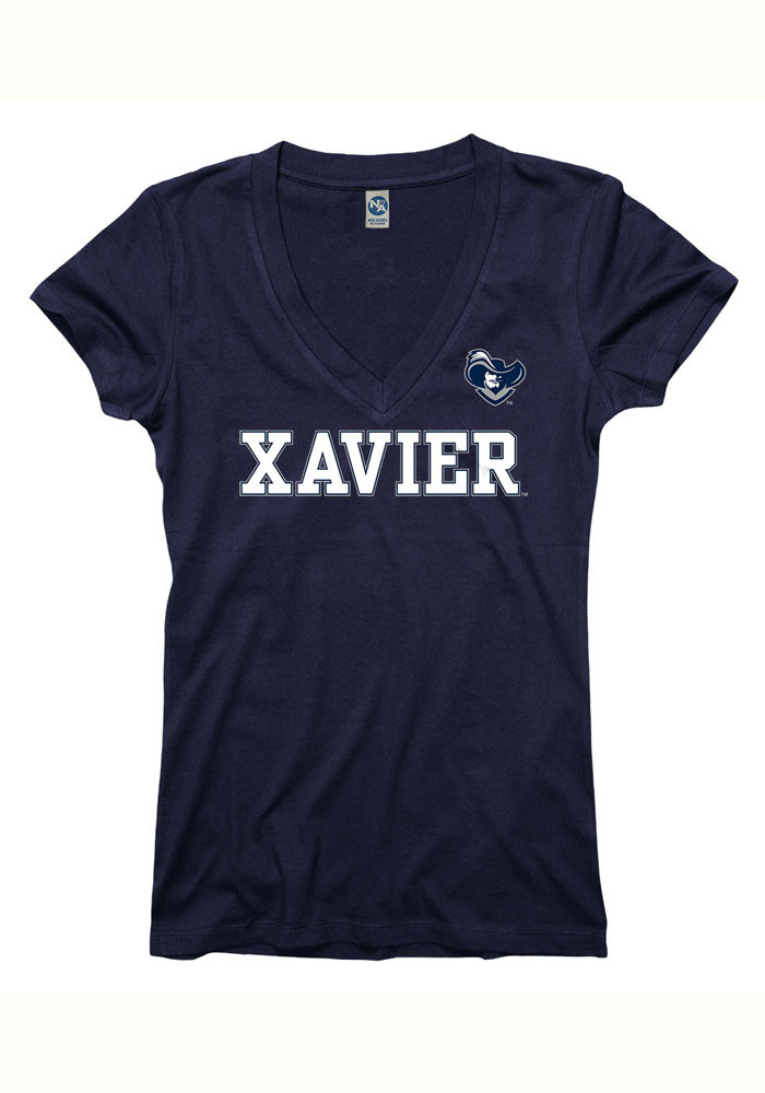 Xavier Musketeers Juniors Navy Blue Straightaway V-Neck T-Shirt - Image 1