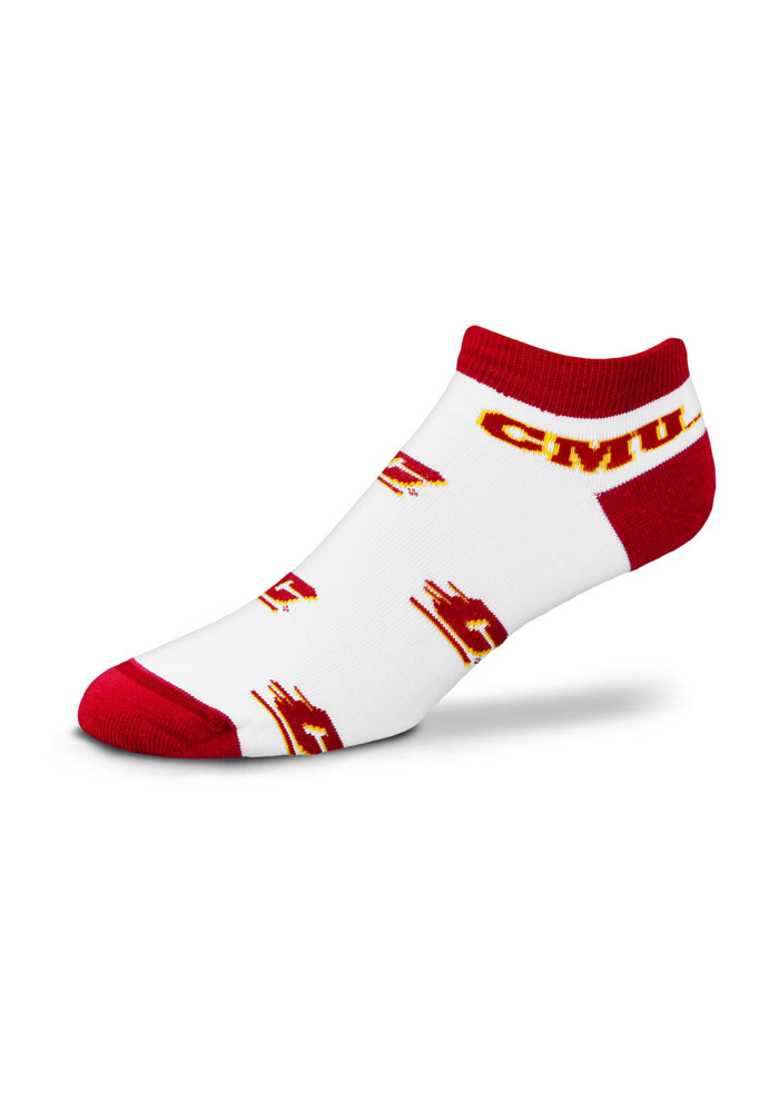 Central Michigan Chippewas Logo All-Over Womens No Show Socks - Image 1