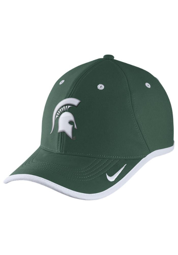 Nike Michigan State Spartans Mens Green Performance Coaches Adjustable Hat - Image 1