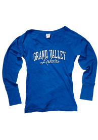 Grand Valley State Lakers Juniors Cotton Jersey Blue Scoop Neck Tee