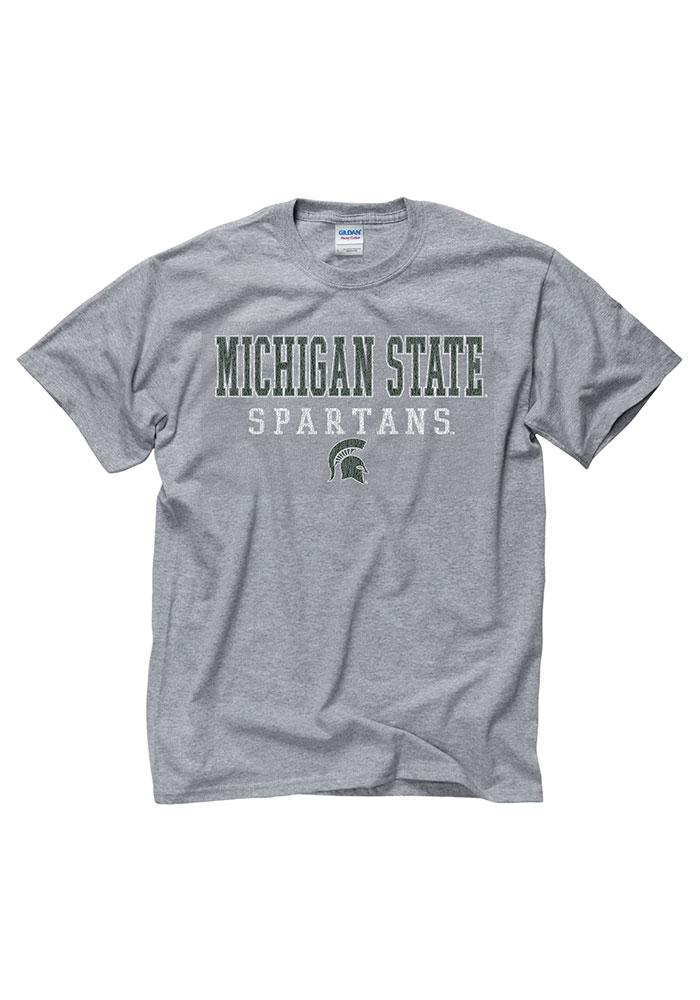 Michigan State Spartans Grey Worn Out Short Sleeve T Shirt - Image 1