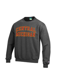 Central Michigan Chippewas Champion Twill Crew Sweatshirt - Charcoal