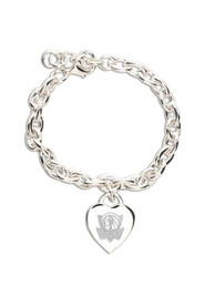 Dallas Mavericks Womens Heart Charm Bracelet - Silver