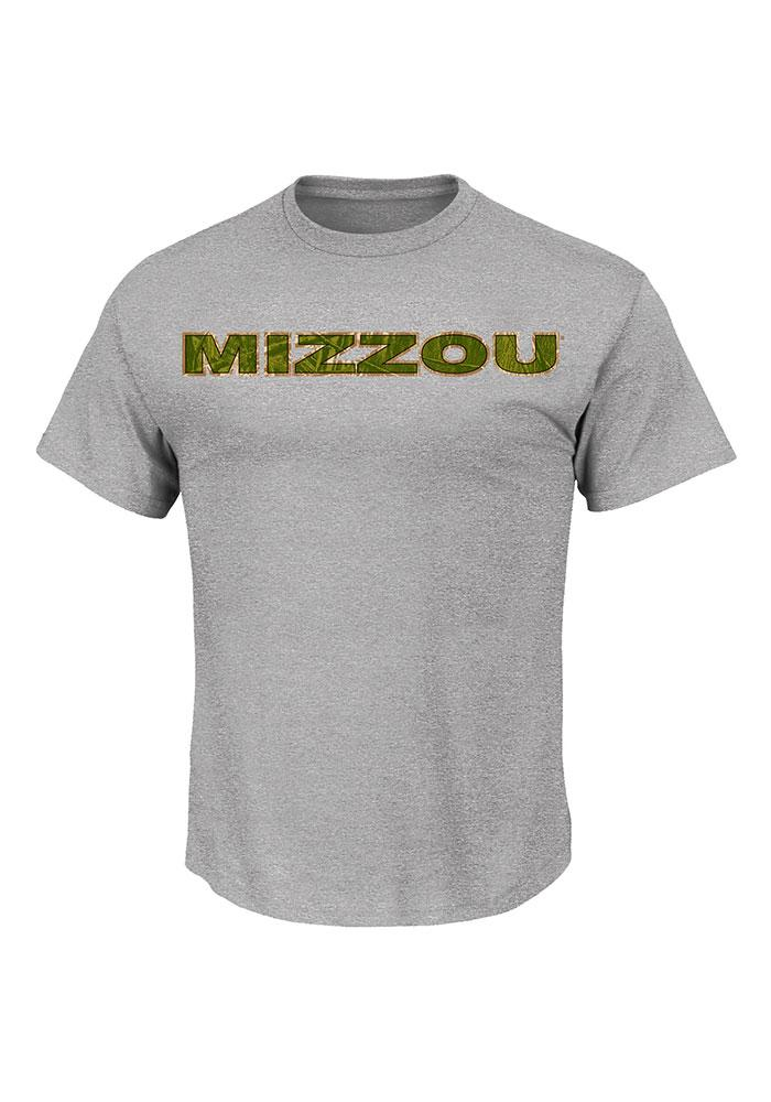 Majestic Missouri Tigers Mens Grey Laid Out Short Sleeve T Shirt - Image 1