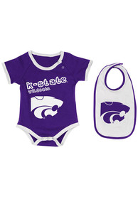 Colosseum K-State Wildcats Baby Purple Logo One Piece with Bib