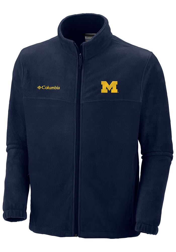 Columbia Michigan Wolverines Mens Navy Blue Flanker II Light Weight Jacket - Image 1