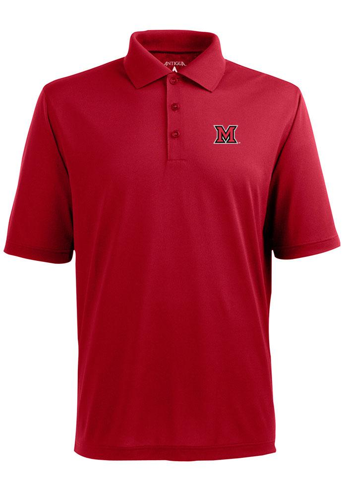Antigua Miami Redhawks Mens Red Pique Extra Lite Short Sleeve Polo - Image 1