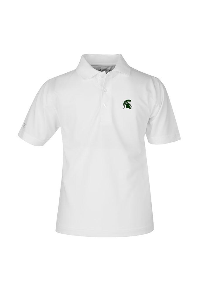 Antigua Michigan State Spartans Youth White Pique Short Sleeve Polo Shirt - Image 1