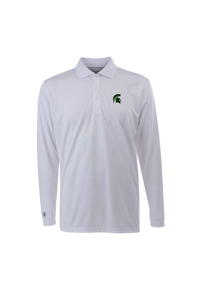 Antigua Michigan State Spartans Mens White Exceed Long Sleeve Polo Shirt - Image 1