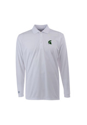 Antigua Michigan State Spartans Mens White Exceed Long Sleeve Polo Shirt