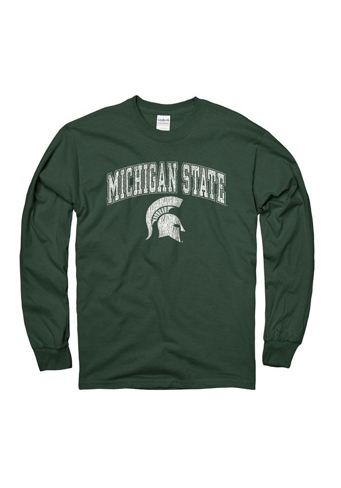 Michigan State Spartans Green Arch Long Sleeve T Shirt - Image 1