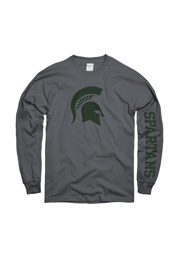 Michigan State Spartans Charcoal Logo Long Sleeve T Shirt - Image 1