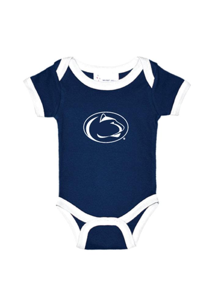 Penn State Nittany Lions Baby Navy Blue Logo Short Sleeve One Piece - Image 1