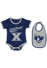 Colosseum Xavier Musketeers Baby Navy Blue Logo One Piece with Bib