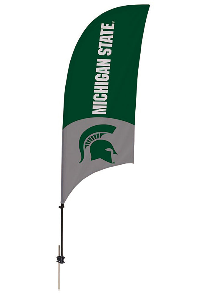 Michigan State Spartans 7.5 Foot Spike Base Tall Team Flag - Image 1