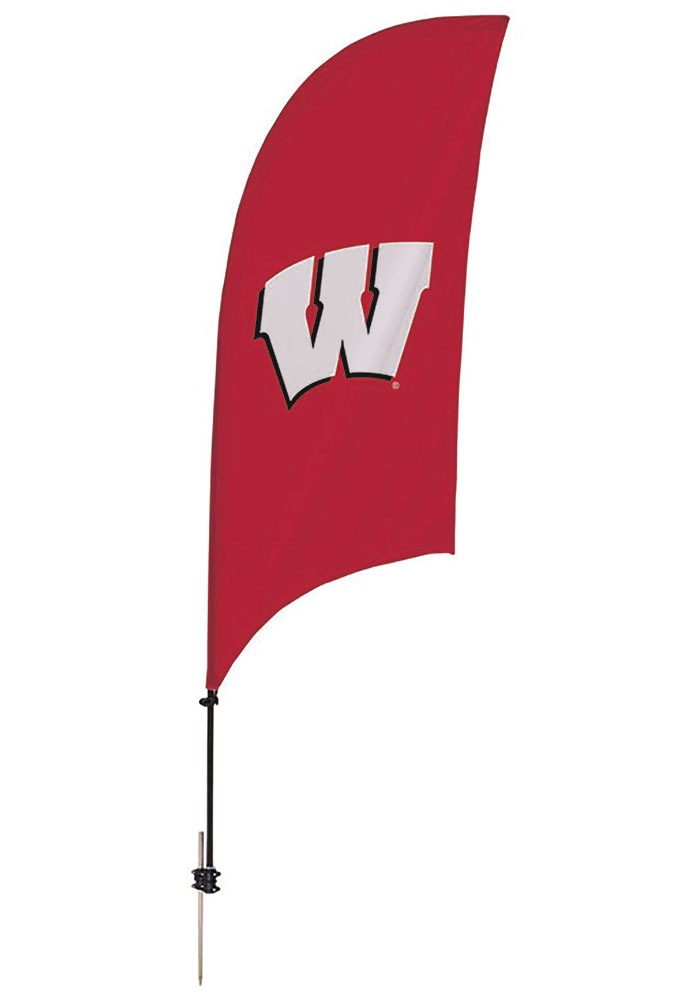 Wisconsin Badgers 7.5 Foot Spike Base Tall Team Flag - Image 1