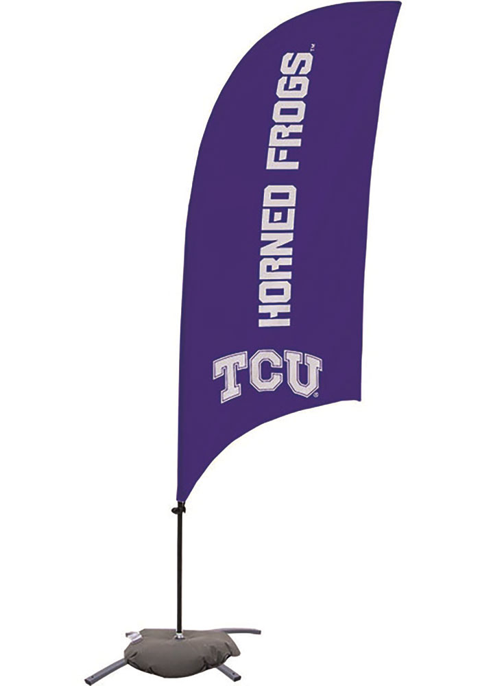 TCU Horned Frogs 7.5 Foot Cross Base Tall Team Flag - Image 1