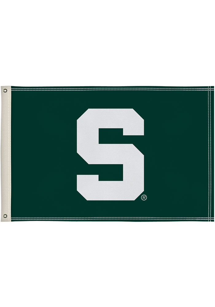 Michigan State Spartans 2x3 Green Silk Screen Grommet Flag - Image 1