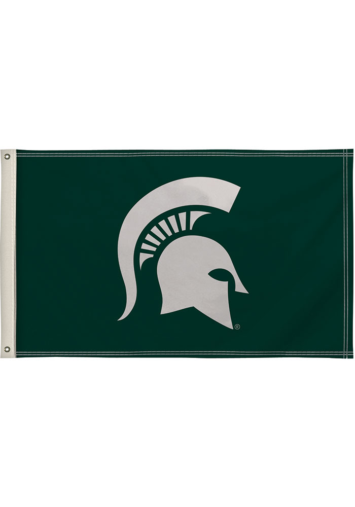 Michigan State Spartans 3x5 Green Silk Screen Grommet Flag - Image 1