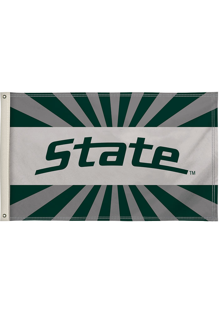 Michigan State Spartans 3x5 White Silk Screen Grommet Flag - Image 1