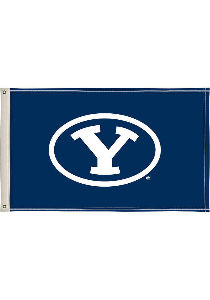 BYU Cougars 3x5 Blue Silk Screen Grommet Flag - Image 1