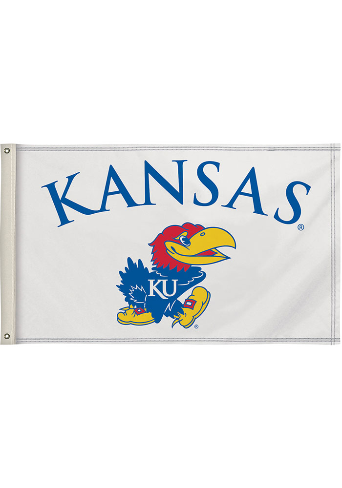 Kansas Jayhawks 3x5 White Silk Screen Grommet Flag - Image 1